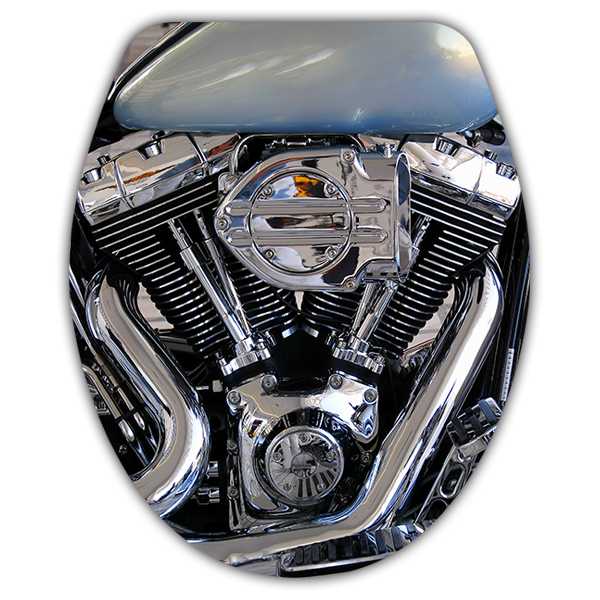 Stickers muraux: Couvercle wc Moteur Harley