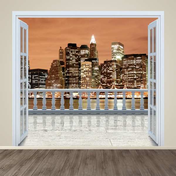 Stickers muraux 3d trompe l 39 il de terrasses for Stickers fenetre new york