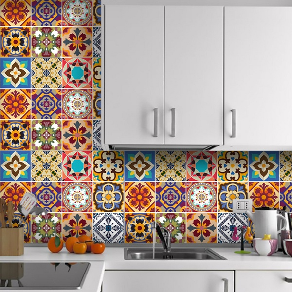 Stickers muraux: Kit 48 Stickers Carrelage Talavera 1