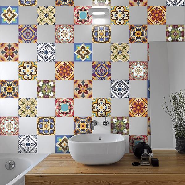 kit 48 stickers carrelage talavera. Black Bedroom Furniture Sets. Home Design Ideas