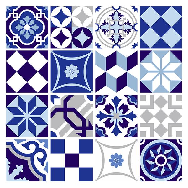 kit 48 stickers pour carrelage mural bleu. Black Bedroom Furniture Sets. Home Design Ideas