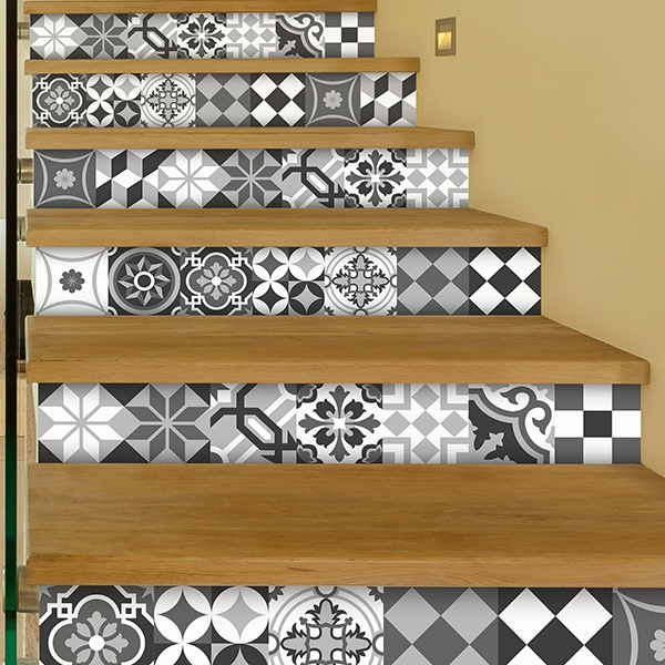 kit 48 stickers pour carrelage mural noir et blanc. Black Bedroom Furniture Sets. Home Design Ideas