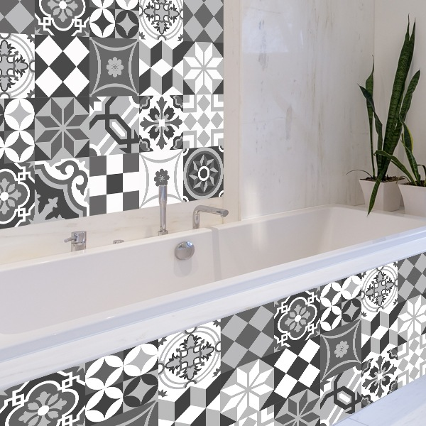 kit 48 stickers pour carrelage mural noir et blanc. Black Bedroom Furniture Sets. Home Design Ideas