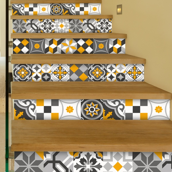 Stickers muraux: Kit 48 stickers pour Carrelage mural ornamentales