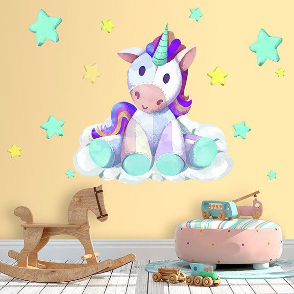 Stickers muraux: Licorne animal en peluche