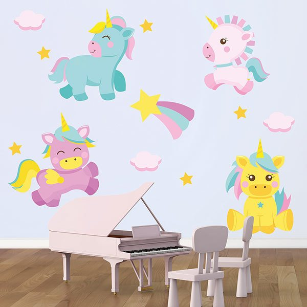 Stickers muraux: Kit couleur licorne