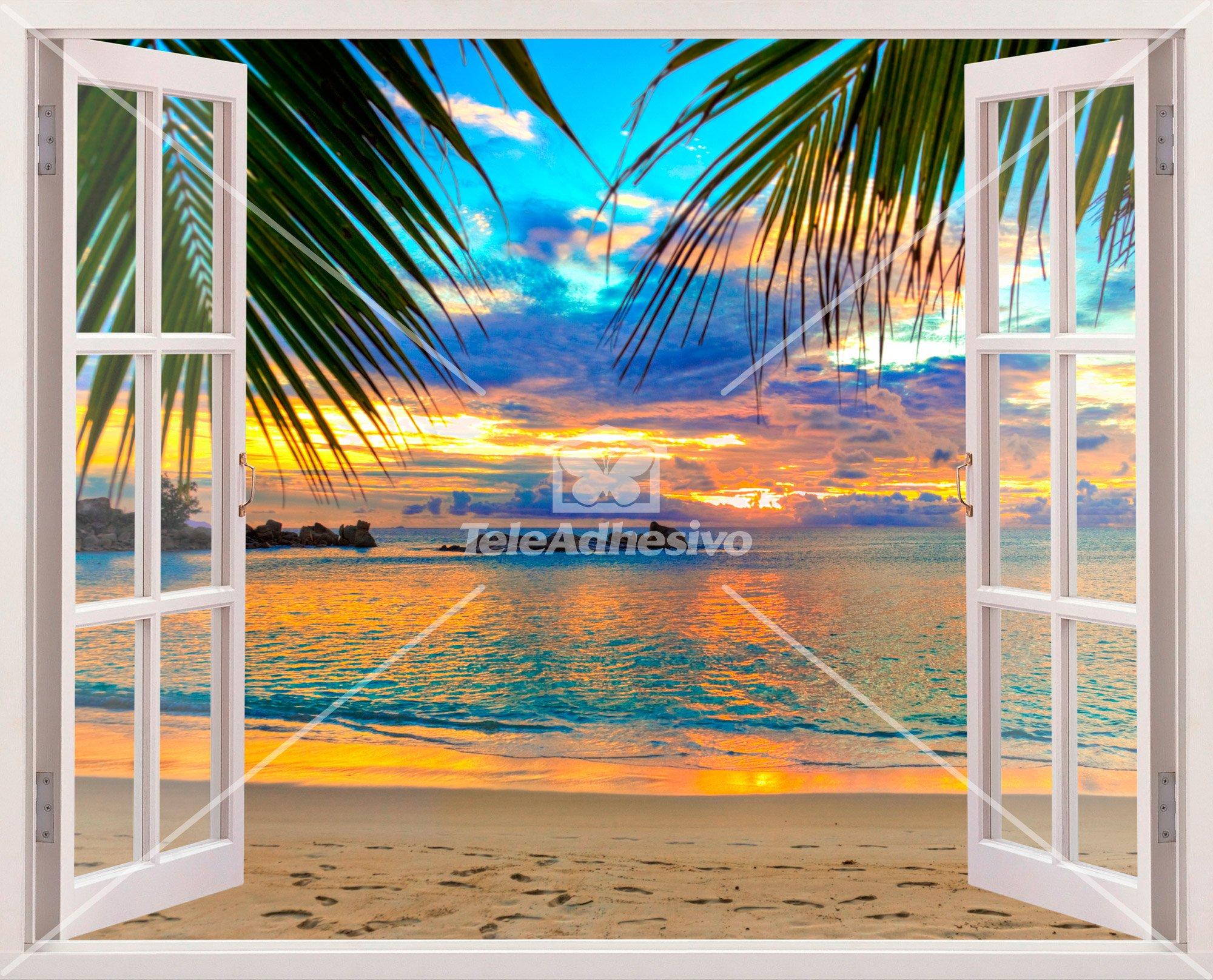 Coucher de soleil sur la plage for Plage stickers muraux