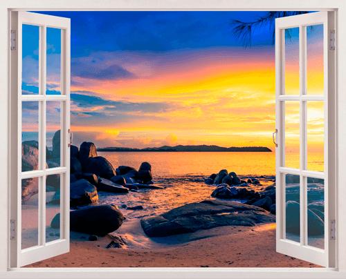 Stickers muraux coucher de soleil sur la plage 2 for La fenetre soleil