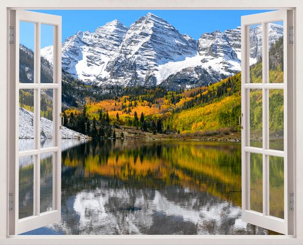Stickers muraux montagne vall e et le lac for Fenetre ouverte sur paysage