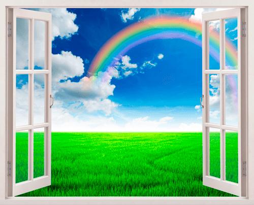 Stickers muraux arc en ciel dans le domaine for Fenetre ouverte sur paysage