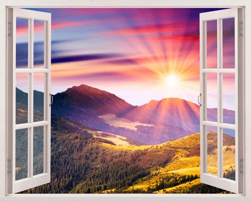 Stickers muraux coucher de soleil dans les montagnes for Une fenetre ouverte