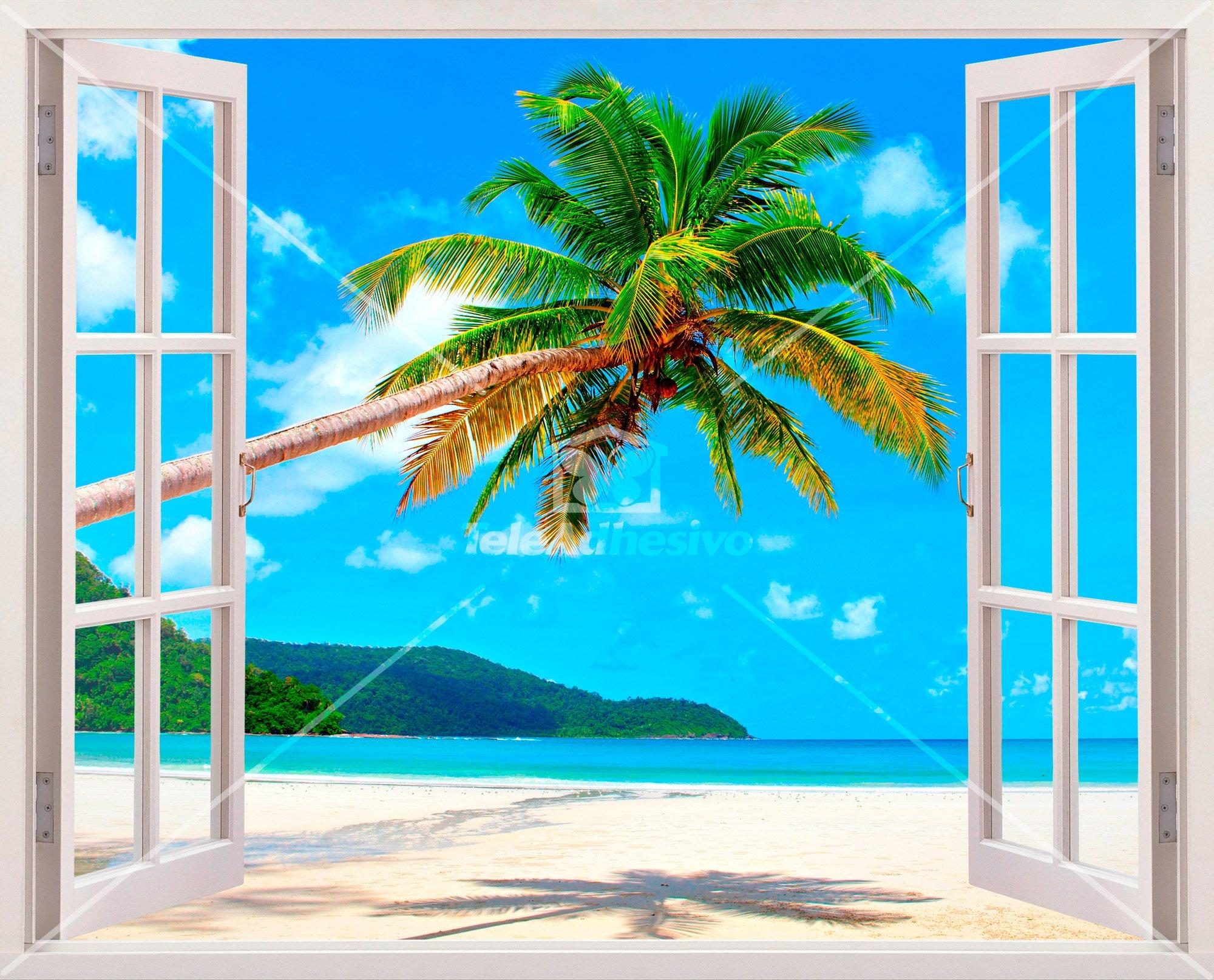 Stickers muraux palmier sur la plage des cara bes for Fenetre ouverte sur paysage