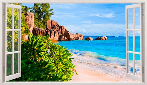 Stickers muraux: Panorama pierres sur la plage 1