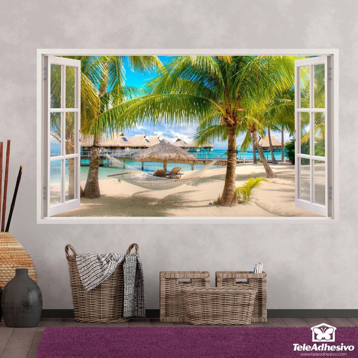 Stickers muraux: Panorama hamac sur la plage