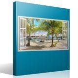 Stickers muraux: Panorama hamac sur la plage 4