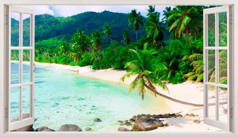Stickers muraux: Panorama Palm sur la plage 2