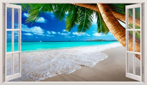 Stickers muraux: Panorama Palm sur la plage 13