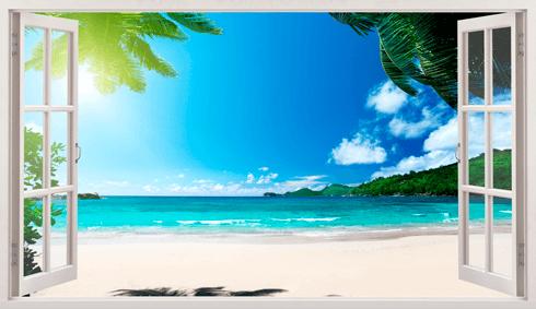 Stickers muraux: Panorama Palm sur la plage 5