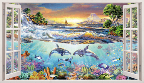 Stickers muraux: Panorama fond de la mer
