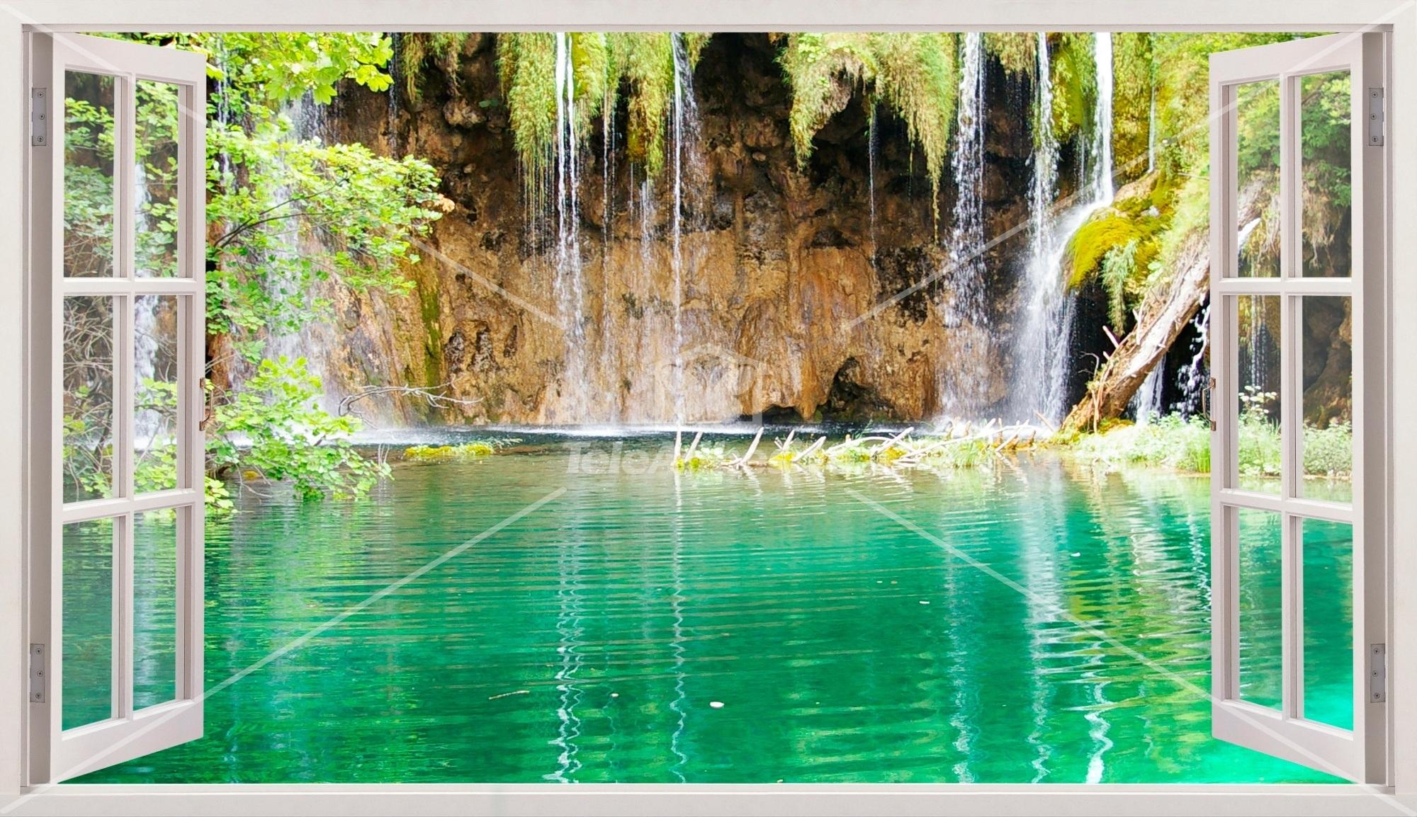 Stickers muraux: Panorama lac et cascade
