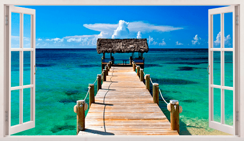 Stickers muraux: Panorama passerelle vers la mer aux Bahamas
