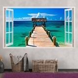 Stickers muraux: Panorama passerelle vers la mer aux Bahamas 3