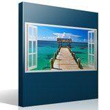 Stickers muraux: Panorama passerelle vers la mer aux Bahamas 4