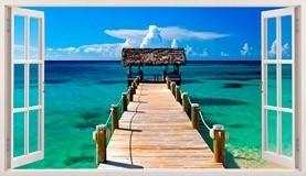 Stickers muraux: Panorama passerelle vers la mer aux Bahamas 5