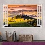 Stickers muraux: Panorama de Toscane paysage italien 3