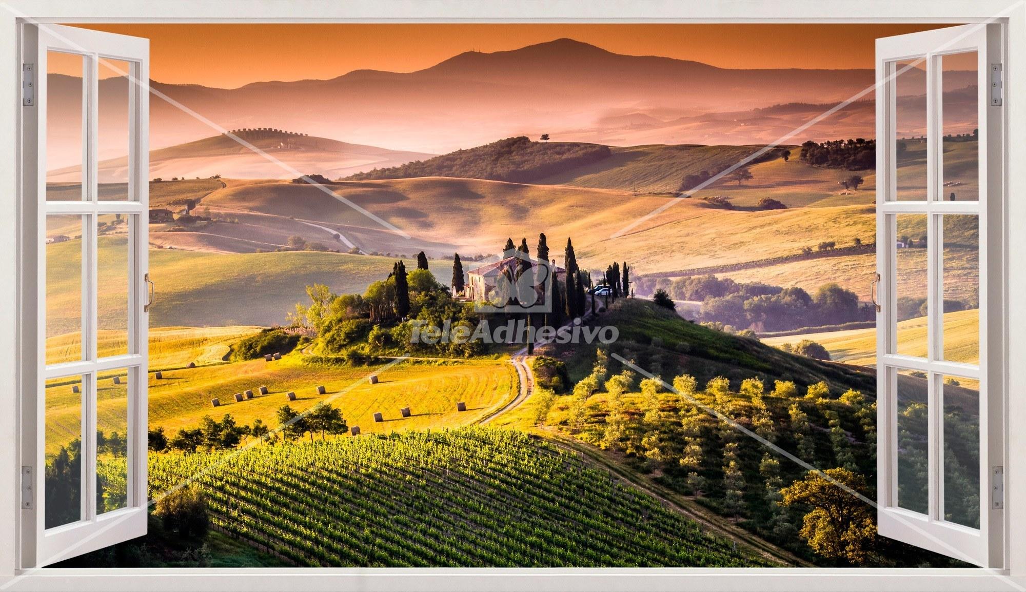 Panorama de toscane paysage italien for Fenetre ouverte sur paysage