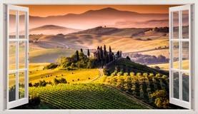 Stickers muraux: Panorama de Toscane paysage italien 5