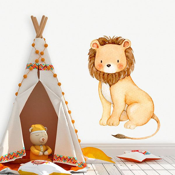 Stickers pour enfants: Aquarelle lion