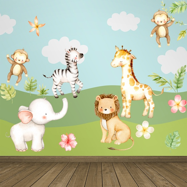 Stickers pour enfants: Kit aquarelle jungle