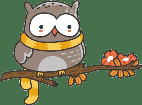 Stickers pour enfants: Chouette avec un foulard sur la branche