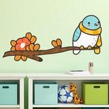 Stickers pour enfants: Oiseau avec un foulard sur la branche 3