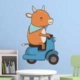 Stickers pour enfants: Vache et moto Vespa 3