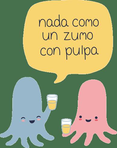 Stickers pour enfants: Octopus prenant jus avec pulpe