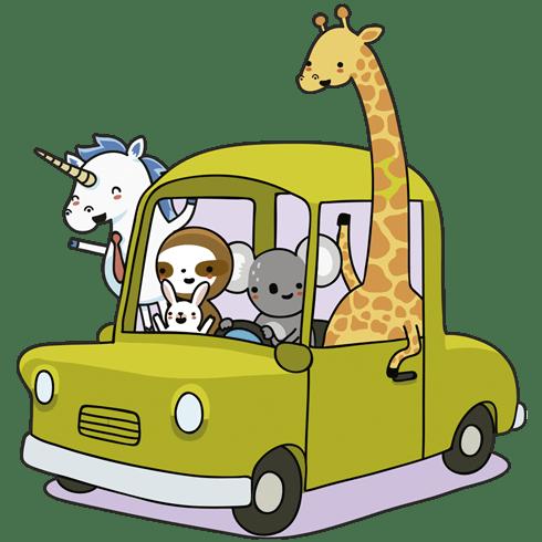 stickers pour enfants voiture charg avec des animaux. Black Bedroom Furniture Sets. Home Design Ideas