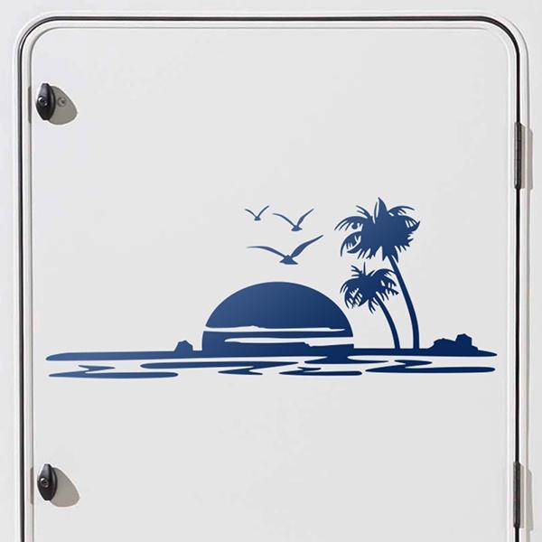 autocollant de caravane coucher de soleil sur la plage. Black Bedroom Furniture Sets. Home Design Ideas
