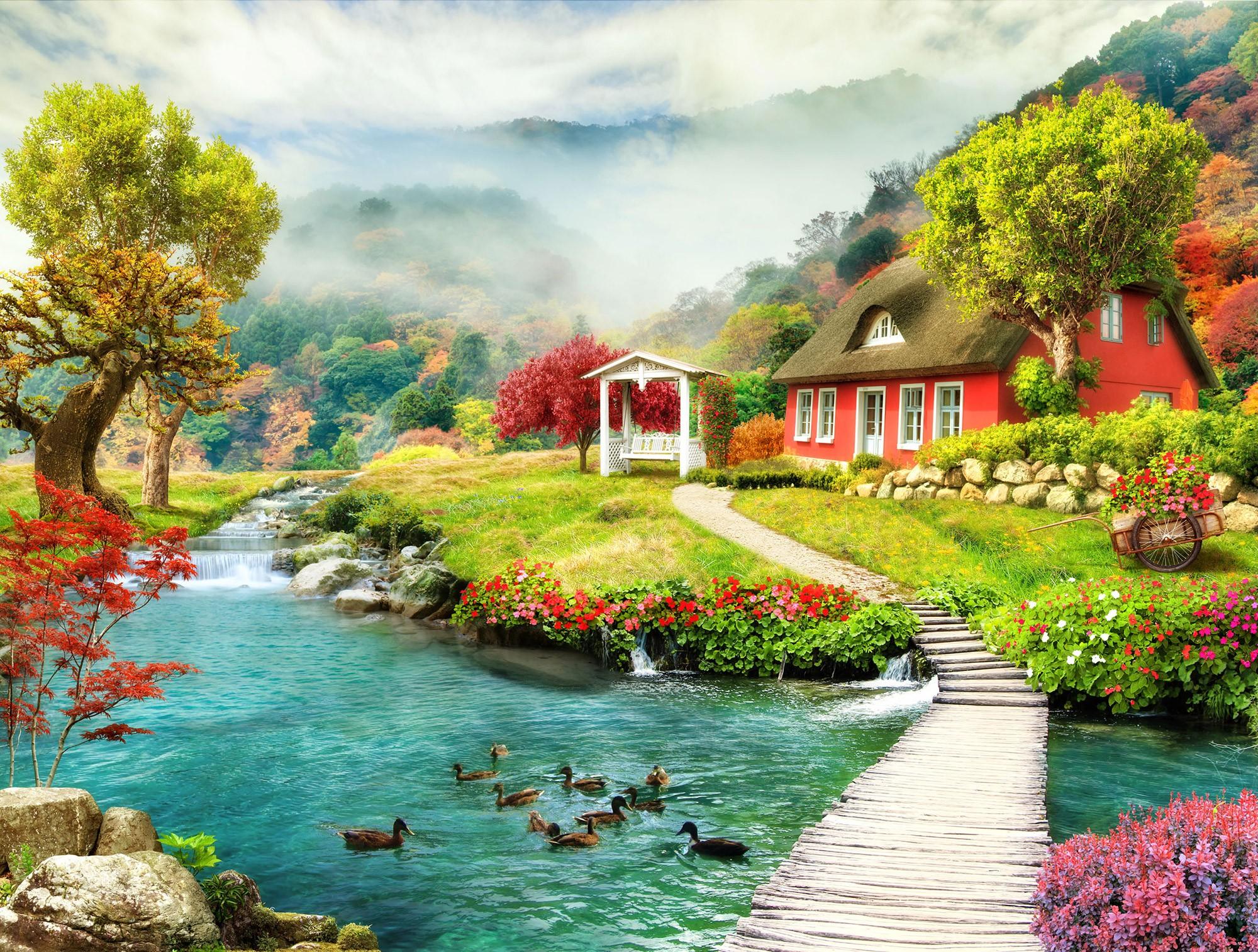 Papier peint vinyle: Cottage par la rivière
